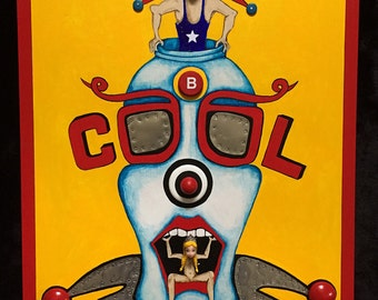 B Cool - Recycled Mixed Media Assemblage/Painting  on Wood
