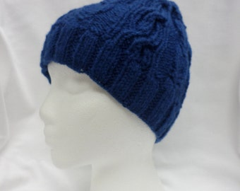 Knit Quail Tail Cabled Hat Pattern