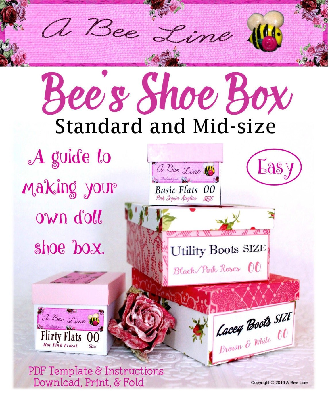 bee 39 s shoe box standard and mid size doll shoe box pdf. Black Bedroom Furniture Sets. Home Design Ideas