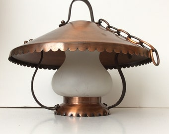 1960s COPPER Lamp-Western hanging lamp-frosted white glass-Mid Century retro home lighting-1960s modern-ranch style light-kitchen