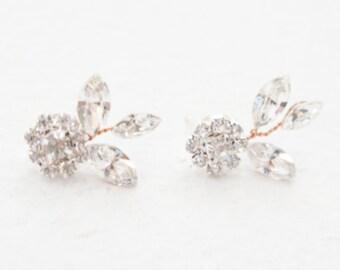 Crystal Earrings, Crystal Cluster Earrings, Cluster Earrings, Large Stud Earrings, Crystal FlowerEarrings, Rhinestone Earrings, Earrings