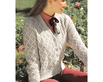 Instant Download PDF Knitting Pattern to make a Womens Lacy V Neck Summer Cardigan in 5 Sizes to fit 32 to 40 inch Bust