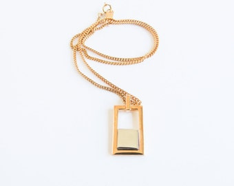Two Tone Rectangle Vintage Gold and Silver Rectangular Avon Necklace
