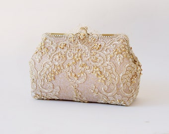 Alencon Lace Gold and Muted Lavender Purse / wedding bag / bridesmaid clutch / Glam Bridal clutch /  Evening clutch / Formal Party Purse
