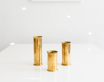 Danish Modern Brass Cylinder Candle Holder Set // Mid Century Modern Home Decor // Scanmalay Denmark