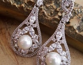Freshwater Pearl  Earrings,  CZ Chandelier Earrings, Long Drop Bridal Earrings, Natural Pearl Vintage Style Wedding