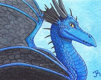 ACEO Fantasy Art Print- Darkwings - Limited Edition Print - Fantasy Dragon Art