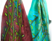 "Bamboo Silk Scarf~Vine silk scarf~ETSY~15""x58""~Painted silk scarf~Handmade silk scarf~Hand-painted silk scarves~Hand painted silk scarves"