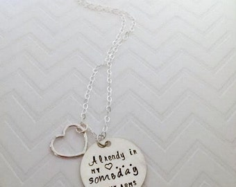 Adoption Encouragement Necklace - Infertility Waiting Jewelry - Already in my Heart Someday in my Arms - The Charmed Wife - Adoption Jewelry