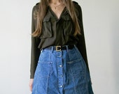 """Vintage 90s """"Sister Jean"""" a-line denim button up mini skirt size Small"""