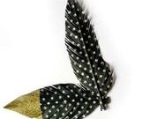 Monochrome Fake Feather - Black & White Polka Dots || Washi Tape Feather