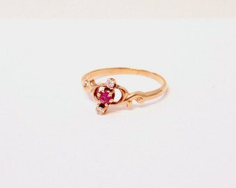 Antique 14K Diamond and Ruby Ring, Victorian, Wedding, Yellow Gold