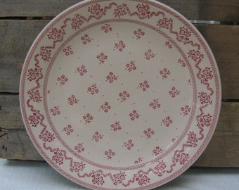 "Red Print Dinner Plate, Laura Ashley, Johnson Brothers, England, Ironstone Dinner Plate, 10"" Red Floral Plate, Vintage 1976 MyVintageTable"