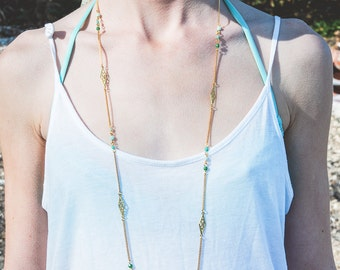 Mint long necklace, boho long necklace turquoise and gold, ombré necklace green and mint,  pastel jewelry,  summer jewelry, rhombus necklace