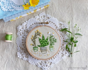 Embroidery art, Christmas decoration, Craft kit - Houseplants - Embroidery kit, Diy kit, Diy embroidery kit, Kit broderie, Tamar Nahir