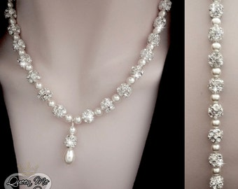 Pearl necklace with pendent and backdrop ~ Swarovski pearls and large sparkling crystal balls, Pearl necklace,Pearl backdrop necklace~ HOLLY