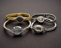4 Wrist Watch Bands or Bracelets Without Movements in Silver or Gold Tone Metal, Wristwatch Parts Lot for Jewelry Art & Craft Supplies 03839