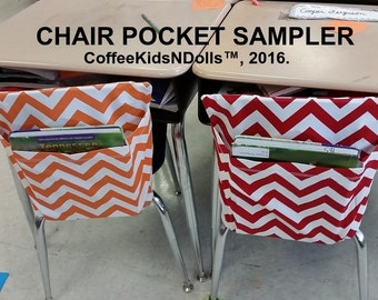 VALUE Chair Pockets SAMPLER Teacher Classroom Organization Elementary School Seat Sacks Covers Expandable Pocket Chevron Duck