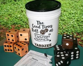 PERSONALIZED yahtzee dice game, beach game, YARDzee, giant yard dice, Yatzee indoor outdoor backyard game, wedding family reunion fun