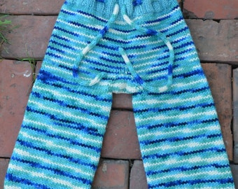 Hand knit Wool Pants, Mosaic Moon, Sea Dragon, Toddler Size