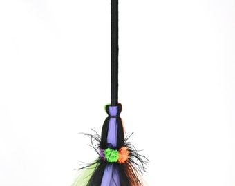 READY TO SHIP: Twinkling Trickster Broomstick - Halloween Witch Broom Costume Accessory - Purple Orange Green - Child Size