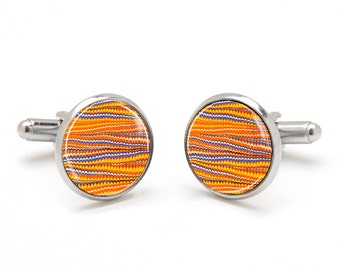 Abstract Cufflinks - Rippled Pattern Cufflinks - Orange Striped Cufflinks - Cool and Unique Gifts for Men - Suit Accessories for Men