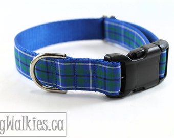 """Ancient Douglas Tartan Dog Collar - 1"""" (25mm) Wide - Green and Blue Plaid Dog Collar - Martingale or Quick Release -Choice of style and size"""