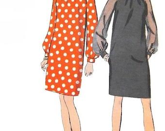 Vintage 1960s MOD Evening Cocktail Slim Dress Sewing Pattern Vogue 7306 Bias Draped Collar, Raglan Sleeves, Size 10 Bust 32.5 UNCUT