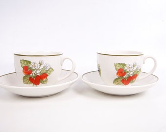 Vintage Staffordshire Gardens Tiffany & Co Teacup and Saucer 2 Sets Fruit Pattern Made in England Johnson Brothers Cups Saucers