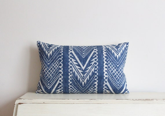 "Block printed chevron pillow cushion cover 12"" x 20"" in indigo"