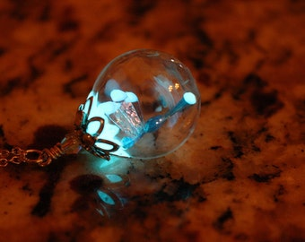 Tiny Dragonfly GLOW in the DARK in Glass Bubble pendant