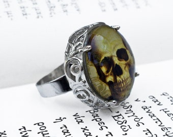 Gothic Ring, Skull Ring, Macabre Ring, Creepy Ring, Gothic Jewelry, Macabre Jewelry, Halloween Ring, Cameo Ring,Rocker Ring,Glass Photo Ring