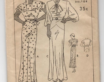 "1930's Butterick One-Piece Dress with bow detail or capelet sleeve Pattern - Bust 34"" - UC/FF - No. 6252"