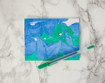 Marbleized Pattern Blue and Green Greeting Card - Just Because, Thinking of You, Happy Birthday