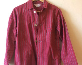 Women's Vintage Striped Pajama Top Cranberry Pink Grey Stripe Small