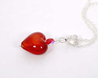 Red heart pendant necklace, Puffed heart, Red glass heart necklace, Red jewellery, Mothers Day, UK shop