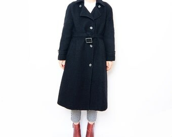 Vintage black wool long women 90s coat // small eu36
