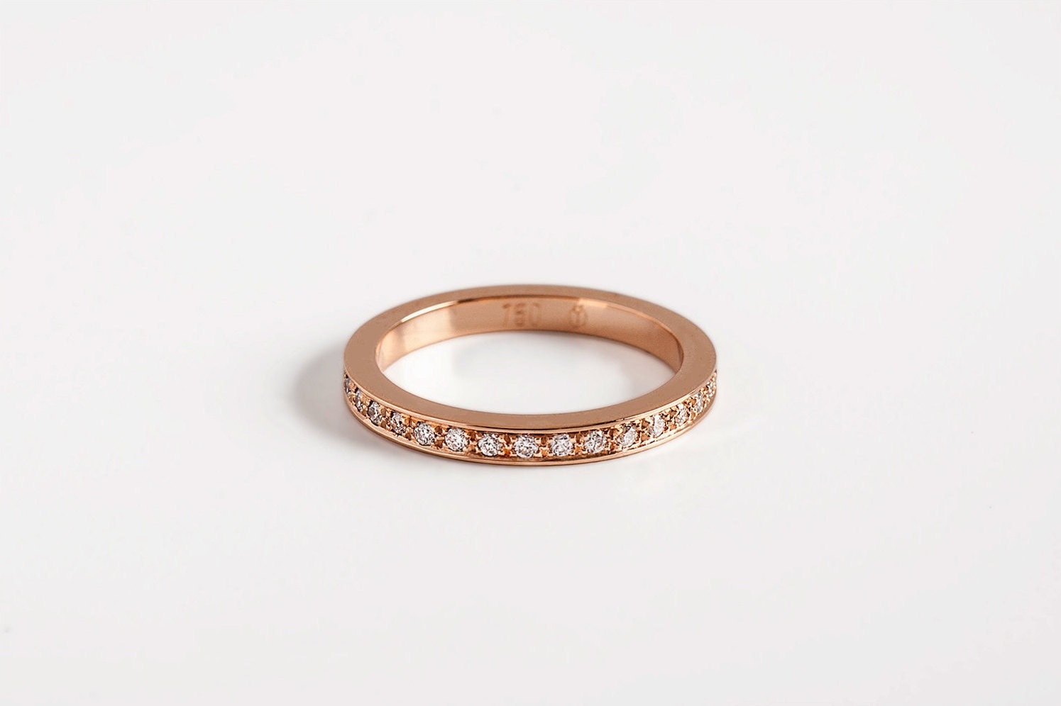 Simple Engagement Ring Rose Gold Band Pave Diamonds Eternity