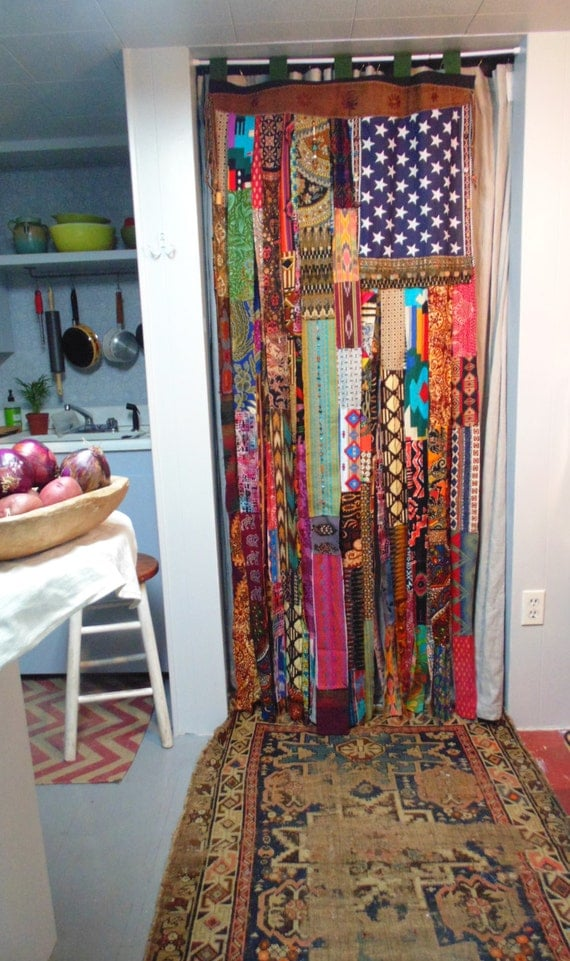 Boho American Flag Bohemian Hand Beaded Coins Door Curtain Diy