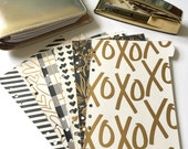 Set of 6 // A5 or Personal Planner Dividers // A5 Dividers // Personal Dividers // Black & Gold Dividers / Valentine Dividers / Foil Planner