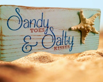 Sandy Toes & Salty Kisses Starfish Rustic Wood Beach Sign