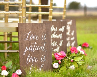 1 Corinthians 13 signs- Set of 8 , Love Never Fails signs, Love is Patient Signs, Aisle Signs, Wedding Verse Signs, 1 Cor 13 Wedding Signs