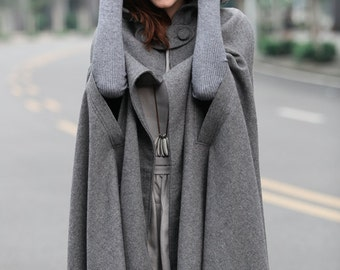 maxi wool poncho cape in grey, black, red, blue, long hooded wool cashmere coat cape, maxi coat, maxi wool cape, maxi wool cloak, hooded cap