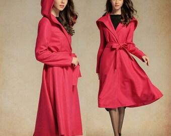 Oversize Hooded Coat Jacket in Raspberry,Wool Blazer, Hooded Blazer, Winter Coat in red, black, blue, grey, green, plus size clothing