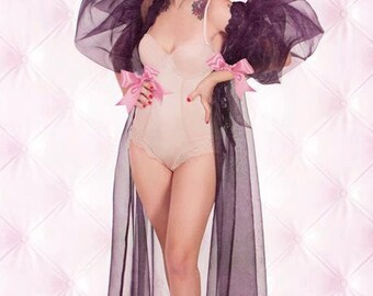 Organza Peignoir Sheer Robe Dressing Gown Made To Order