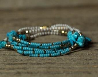 Turquoise Bracelet, Wrap Bracelet, Stretchy Bracelet, Beaded Bracelet, Boho Bracelet, Layering Bracelet, December Birthstone Bracelet, Boho