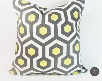"""Yellow Pillow.Yellow Trellis Pillow-Throw Pillow-Citron Yellow / White Lattice, Trellis.16 x 16"""", or 17 x 17"""" or  18 x 18."""""""
