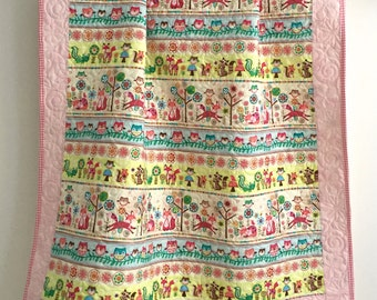 Baby Girl Quilt With Owls Foxes Woodland Animals In Pink Ivory Aqua Citron