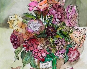 Roses Maclean Green art print