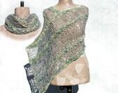 Boho women poncho hand knitted , Gypsy clothing , Unique asymmetrical wrap , Bohemian style shawl merino wool , knit  scarf  Handspun yarn